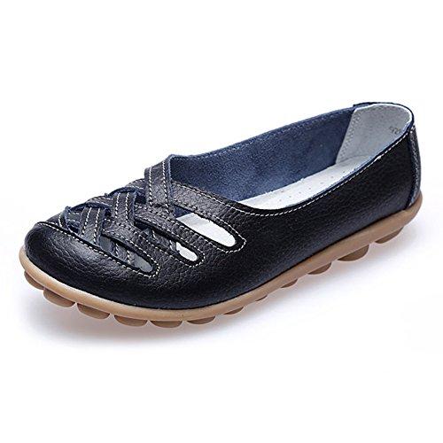 Paris Hill Damen Leder Loafers Weave Slip-on Fahren Schuhe Flats Sandalen Schwarz