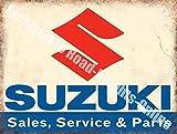 SUZUKI SOLDES Service & pièces auto moto métal / PANNEAU MURAL métalique - 20 x 30 cm
