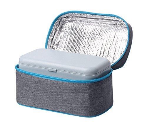 Elfin-lore set scatole bento pranzo lunch box e borsa termica doppio a prova di perdita biodegradabili paglia di grano materiali bpa liberi microonde/lavastoviglie sicuro 800 ml(blu)