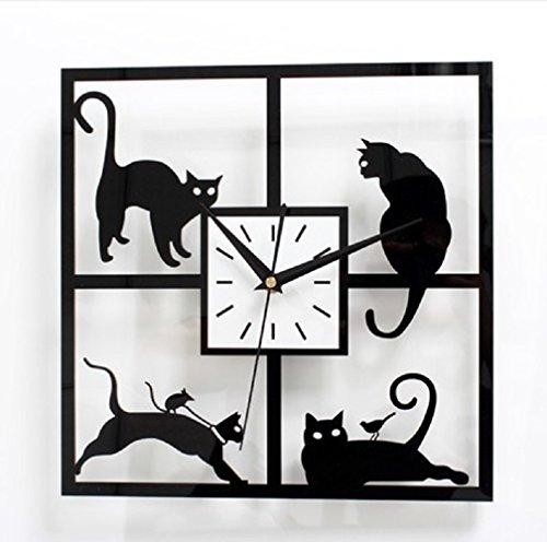 URAQT 3D Modern Wanduhr mit Quarzuhrwerk, DIY Kreatives Design, Groß Dekoration Uhr Deko Wandtattoo,Schwarze Katze