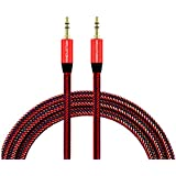 Maruti Suzuki Swift DZire Original Aux Cable Nylon Braided 2 Meter Metal Aux like Car Aux Cable Stereo Audio Cable, Auxiliary Audio Cable, Best Quality Lower Price Male to Male 3.5mm Aux Cable, Music Transfer Auxiliary - Multicolour