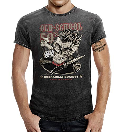 Rockabilly Greaser T-Shirt im Washed Jeans Look: Oldschool Fifties 50s XL