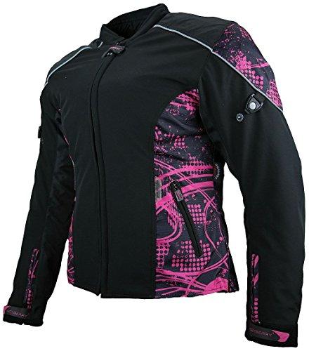 Heyberry Damen Motorradjacke Textil Soft Shell Schwarz Pink Gr. XL / 42