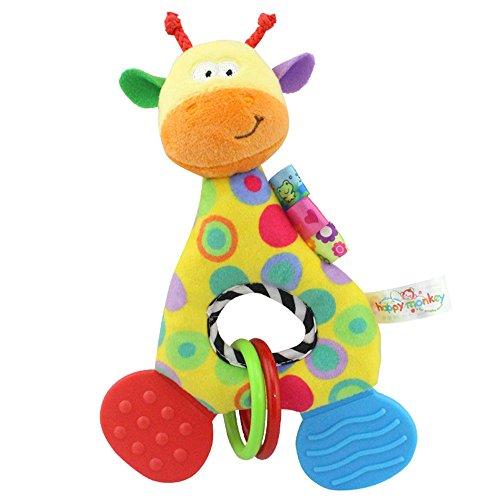 Baby Kleinkindspielzeug Stoffspielzeug Beißring Hand Rasseln Süße Tiere Klingel ab 2 Monate Geschenk,Giraffe (Baby-doll Lustiges Rotes)