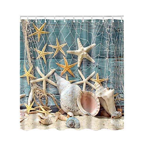 lankai Heiss Badezimmer Dusche Vorhänge Colore Baum Design Polyester Wasserfest Bade Vorhänge für Wohndeko - B Angeln Netz Muscheln 120-180 (Polyester Vorhang Baum Dusche)