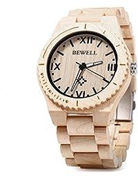 Bewell ZS - W065A Reloj de Cuarzo Analógico para Hombre de Madera con Funsión del Canlendario (White)