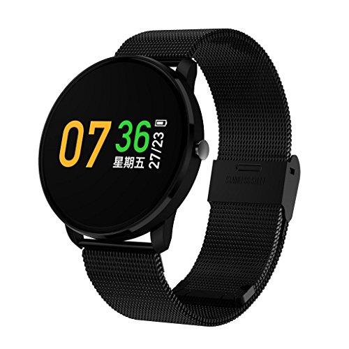 Limin Smart Armband Farbe Bildschirm Bewegung wasserdicht Herzfrequenz Blutdruck Bluetooth Edelstahlband CF007S (Color : Black)