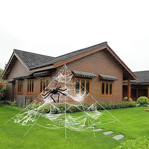 Ocamo Halloween deko Trigonometrie-Spinnennetz mit elastischer Spinnenbaumwolle für Innenhof-Halloween-Party-Dekor im Freien