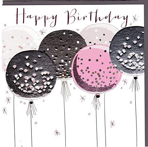 Glückwunschkarte zum Geburtstag im eleganten Belly Button Design mit Prägung und Folienauflage in Silber, veredelt mit ausgewählten Kristallen. BB316