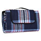 Navy & Lilac Check Folding Acrylic Blanket Camping Waterproof Picnic Mat Rug