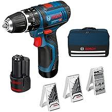Bosch 0615990GB1 - Set taladro GSB con accesorios, 2 baterías y cargador (12 V)