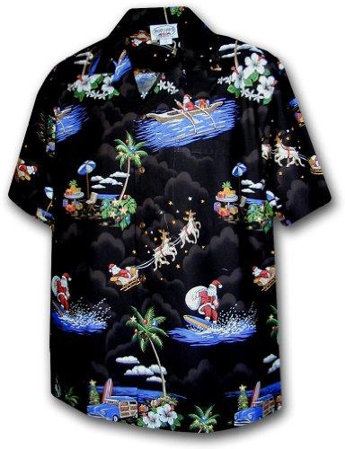 7fe974ce7 Pacific Legend   Original Hawaiian Shirt   For Men   S - 4XL   Short-Sleeve    Front-Pocket   Hawaiian-Print   Christmas Palms reindeer   black. by lapa