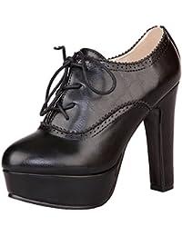 Jamron Mujer Elegante Plataforma Alta Tacón de Bloque Brogue Oxfords Dedo del Pie Cerrado Cordón Tacón Zapatillas Talla Grande