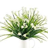 HUAESIN Zantedeschia Aethiopica Calla Lily Pflanze Künstlich Plastikblumen Künstliche Sträucher Artificial Greenery Unechte Blumen für Aussen Topf Balkon Garten Heiratsantrag Deko Weiß 4pcs