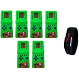 Lemonade - Gift For Kids - Pack Of 6 - Hand Held 9999 In 1 Battery Operated Brick Game & Unisex Silicone Led Bracelet Wrist Band For Kids - Free Digital LED Band For Kids