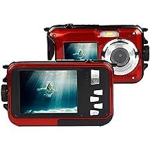 Appareil Photo Etanche numérique Stoga CGT001 Double écrans étanches caméra vidéo numérique de 2,7 pouces avant LCD 2,7 pouces caméra facile Self Shot-Rouge