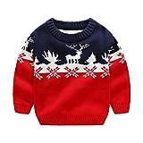 G-Kids Kinder Jungen Strickjacke Strickpullover Baby Weihnachten Elch Langram Rundals Cardigan Sweatshirt Pulli Rot 130