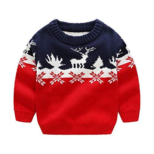 G-Kids Kinder Jungen Strickjacke Strickpullover Baby Weihnachten Elch Langram Rundals Cardigan Sweatshirt Pulli Rot 110