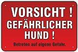 """Schild """"Vorsicht ! Gefährlicher Hund !"""" 200 x 300 mm aus Aluminium-Verbundmaterial 3mm stark"""