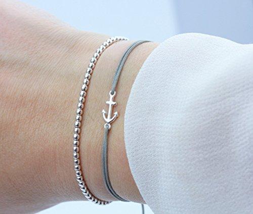 SCHOSCHON Damen Armband Anker Kugelarmband Set Silber-Grau 925 Silber | Freundschaftsarmband Schmuck Geschenk (Marke Harmonie)