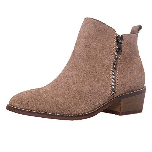 SheSole Damen Stiefeletten Leder Chelsea Boots (38, Neu Taupe) (Wildleder Kurz-blazer)