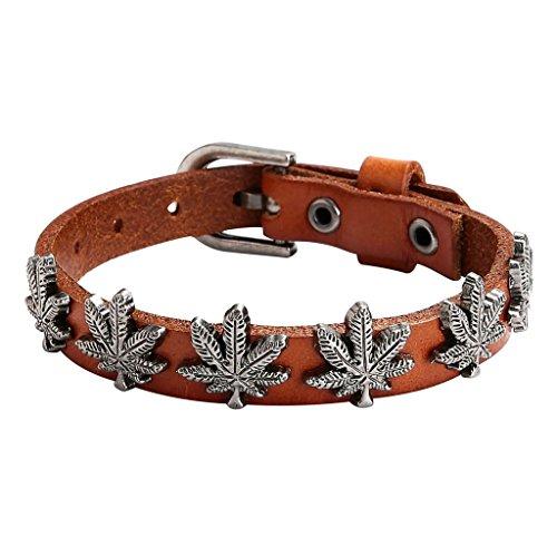 51XZ8FhnjVL UK BEST BUY #1Epinki Mens Stainless Steel and Leather Bracelet Punk Rock Vintage Maple Leaf Strap Adjustable Brown price Reviews uk
