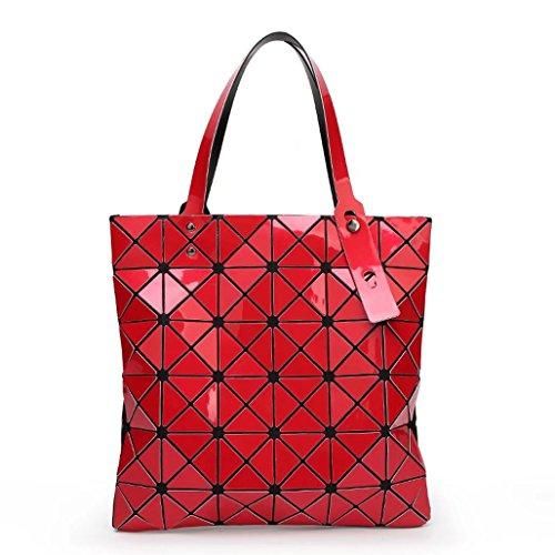 Plaid misto Laomu ologramma geometriche donne split spalla borsetta Sky-Blue Red