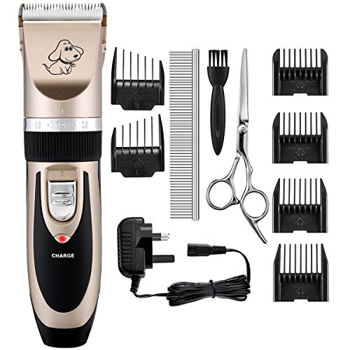 OMORC Dog Clippers, Low Noise Pet Clippers Rechargeable Cordless Dog Trimmer Pet Grooming Tool Professional Dog Hair Trimmer with 6 Comb Guides scissors for Dogs Cats and Other Animals