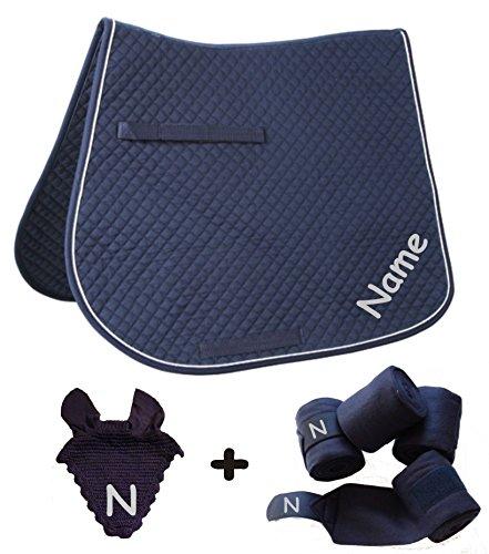 Schabracke mit Wunschname und passenden Bandagen Dressur oder Vielseitigkeit (Blau, VS mit Bandagen+Fliegenhaube)