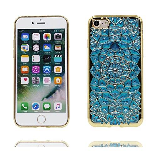 iPhone 6 Copertura,iPhone 6S Custodia,Diamante alla moda strutturato Bling Copertura morbida di TPU di disegno con il caso di protezione sottile case cover per iPhone 6/6S 4.7 inch blu