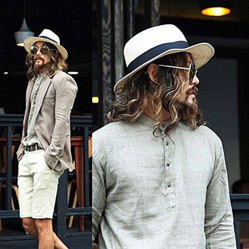 DMXY-Chapeau de Paille men's été plage vacances Hat chapeau pare-soleil Light brown a