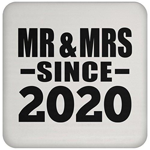 Designsify Jahrestag Untersetzer, MR & MRS seit 2020–Untersetzer, Untersetzer, beste Geschenk für Hochzeit, Verabredungen Verlobungsring von Mann, Frau, Freund, Freundin