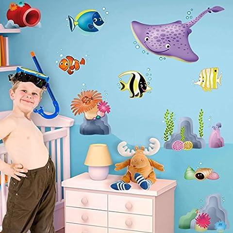 LeoStickers®- LeoKit Barrière de Corail: 10 adhésifs professionnels pour la chambre du bébé. Poisson clown, anémones, race, poissons tropicaux ... Prenez un plongeon parmi les merveilles de la mer !