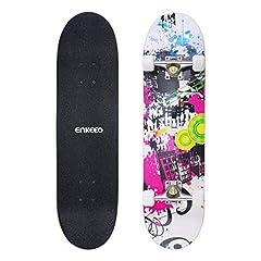 Idea Regalo - ENKEEO Skateboard Completo Double Kick Concave Skateboard 32