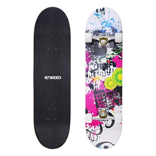 """ENKEEO Skateboard Completo Double Kick Concave Skateboard 32"""", Peso Massimo 100kg, 4 Cuscinetti ABEC-9 Ideale per Principianti e Professionisti?Bianco"""