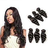 DAIMER Brazilian Human Hair Weave 3 Bundle Loose Wave Echt Haare Verlängerung Weft Remy Extensions Echthaar zum Einnähen Schweißen Dickes Haar 300g 8a 16 18 20 Inches