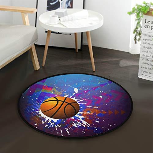 MNSRUU Basketball Aquarell-Teppich für Wohnzimmer, Schlafzimmer, 92 cm Durchmesser