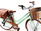 Bicicletta Donna retrò Vintage City Bike Ruote 28″ con Cambio Shimano 6 velocità + Cesto Vimini e Borsa Posteriore Doppia/Verde Pistacchio
