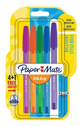 paper-mate-inkjoy-100-cap-1956726-boligrafo-con-capuchon-de-punta-media-5-unidades-1-mm-multicolor
