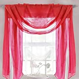 Just Contempo Voile Pompon, Polyester, Scarf Red, 150x300 cm