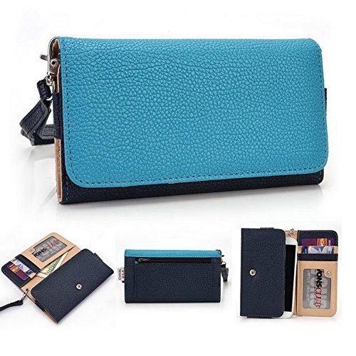 Kroo Pochette Téléphone universel Femme Portefeuille en cuir PU avec dragonne compatible avec LG G4Beat/Bello II Bleu - bleu Bleu - bleu