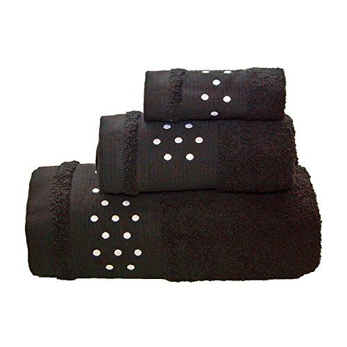 Lunares Toallas De Baño De 4piezas–Juego de 2hojas de baño + 2toallas de mano–negro w/blanco