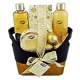 Gloss - caja de baño, caja de regalo para mujeres - Baño de basura - Lujoso Oro Cuerpo - vainilla y lima - 6 piezas