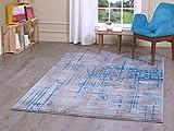 "A2Z Rug Luxury Modern Sevilla 5387 Collection Area Rugs, Grey & Dark Blue 160x230 cm (5ft4"" x 7ft 8"")"