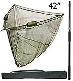 106,7cm Zoll Dual Float Carp Specimen Kescher & 2m Teleskopstiel Aufbewahrung Stink Bag