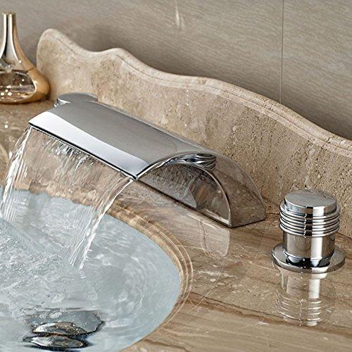Dual Griff Wasserfall Badewanne Mischbatterie Set Deck Mount Badezimmer Badewanne Becken Waschbecken Wasserhahn Chrom-Finish von Mag.AL,B