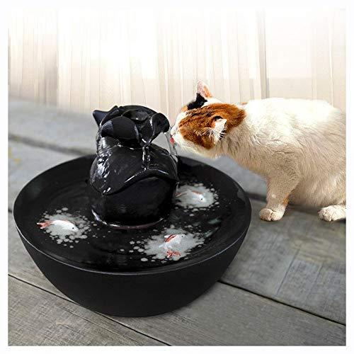 PERYW Haustier Trinkbrunnen Katze Wasserspender Automatische Zirkulationsbrunnen Tierbedarf Keramik Umweltschutz Stumm 0,9L mit Filter Schwarz Wasserspender für Haustiere