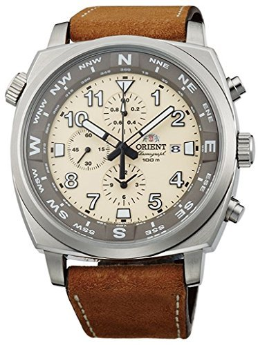 Orient Sporty Chronograph Quarz 100m Pilot Armbanduhr Classic Beige tt17005y
