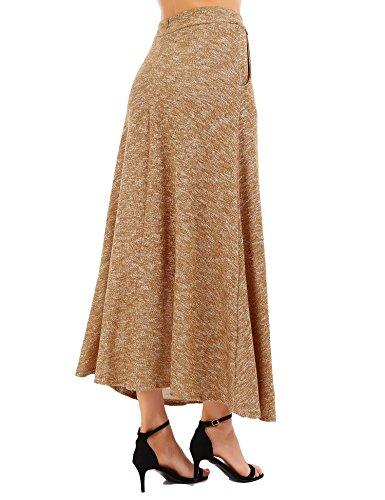 FISOUL De las Mujeres Vintage A-Line Falda Acampanada Cintura Alta Falda Larga Falda Midi Otoño Invierno Caqui S