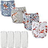 Big Elephant 4 Pack Baby Reusable Cloth Pocket Diapers with 4 Microfiber Inserts PD-06